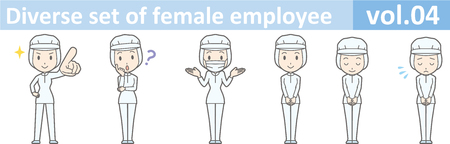 Diverse set of female employee, EPS10 vol.04 (A woman in uniform at a food factory. The mask is removable.)