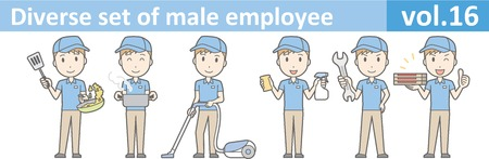 by the collar: Diverse set of male employee, EPS10 vol.16