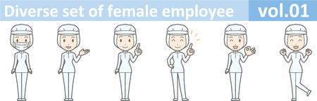 Insieme vario dell'impiegato femminile, EPS10 volume 01 (una donna in uniforme ad una fabbrica dell'alimento La maschera è smontabile) Archivio Fotografico - 70777653