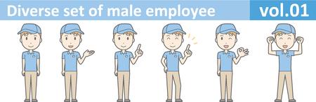 Diverse reeks van mannelijke werknemer, EPS10 vol.01