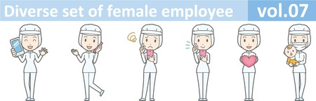 removable: Diverse set of female employee, EPS10 vol.07 (A woman in uniform at a food factory. The mask is removable.) Illustration