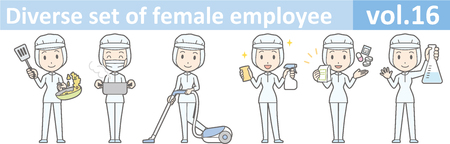 removable: Diverse set of female employee, EPS10 vol.16 (A woman in uniform at a food factory. The mask is removable.)