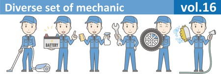 auto service: Diverse set of mechanic, EPS10 vol.16 (Young mechanic in blue uniform)