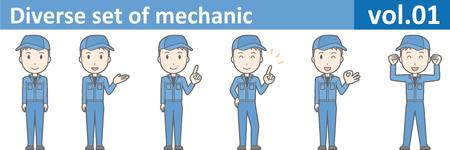 Diverse set of mechanic, EPS10 vol.01 (Young mechanic in blue uniform) Stock Illustratie