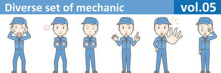Diverse set of mechanic, EPS10 vol.05 (Young mechanic in blue uniform) Illustration