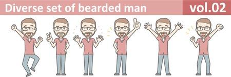 Diverse set of bearded man, EPS10 vol.02