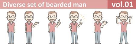 Diverse set of bearded man, EPS10 vol.01 Illustration