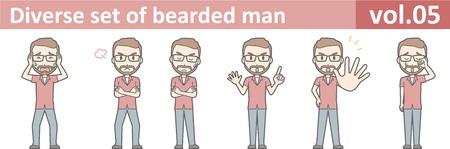 Diverse set of bearded man, EPS10 vol.05