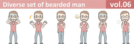 Diverse set of bearded man, EPS10 vol.06