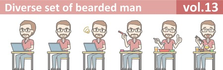 Diverse set of bearded man, EPS10 vol.13