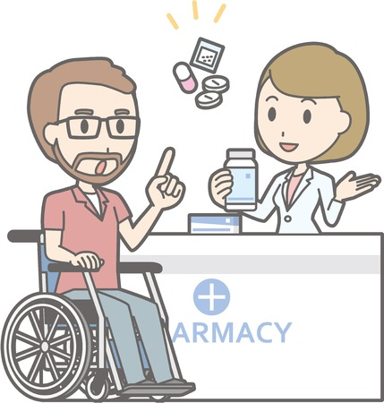 Illustration that a man on a wheelchair consulting a female pharmacist