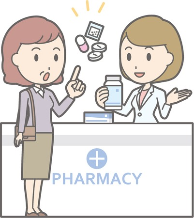 Illustration that a middle-aged woman consults a female pharmacist