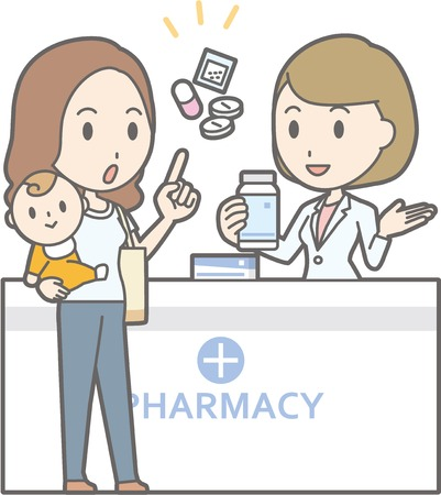 Illustration that a young woman holding a baby consults a female pharmacist Иллюстрация