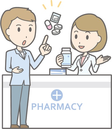 Illustration that a young man consulting a female pharmacist Фото со стока - 71197385