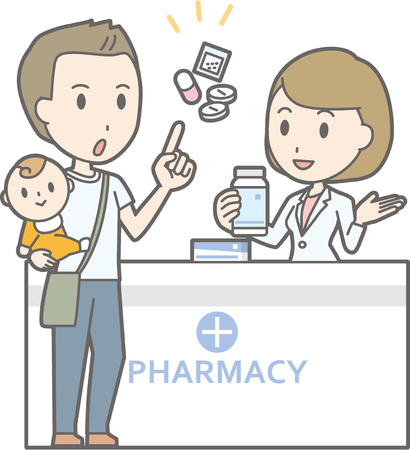 Illustration that a man holding a baby consulting a female pharmacist Фото со стока - 71197389