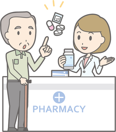 Illustration that a old man consulting a female pharmacist