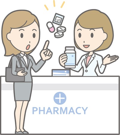 Illustration that a businesswoman wearing suit consults a female pharmacist