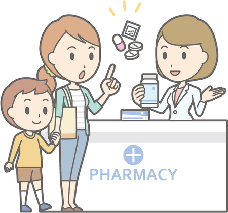 Illustration that a young mother consulting a female pharmacist Stock Illustratie
