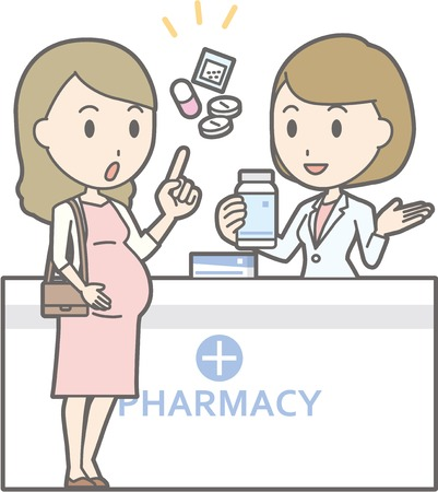 Illustration that a young pregnant woman consults a female pharmacist Иллюстрация