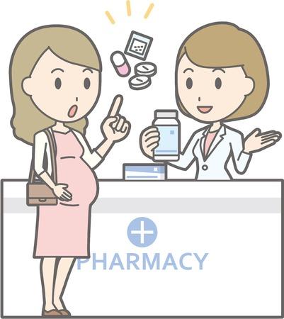 Ilustración que una mujer embarazada joven consulta a una farmacéutica de sexo femenino Foto de archivo - 71197424