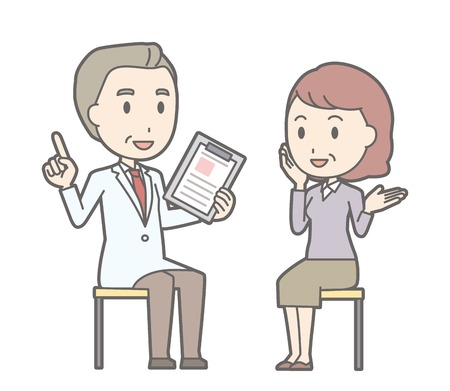 Illustration that a middle-aged woman is consulting a doctor