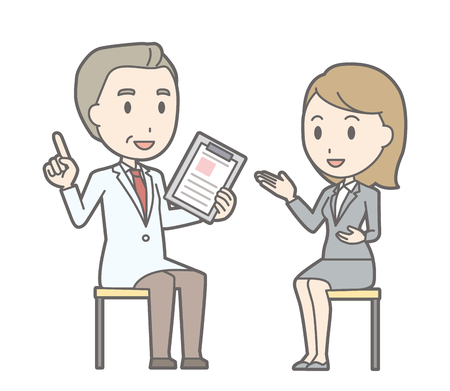 Illustration that a business woman in a suit consults a doctor
