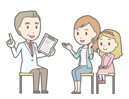 mom and daughter: Illustration that girl and her mother are consulting a doctor