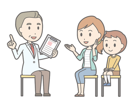Illustration that Boy and his mother are consulting a doctor Çizim
