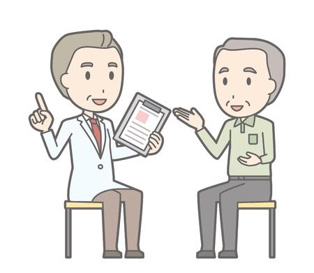 Illustration, die ein alter Mann mit einem Arzt konsultiert