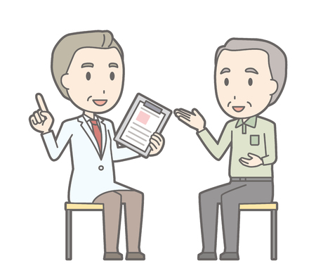 Illustration that an old man consults with a doctor