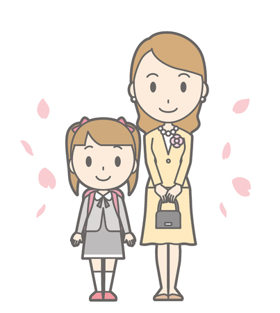 asian family: Illustration of entrance ceremony at elementary school vol.12