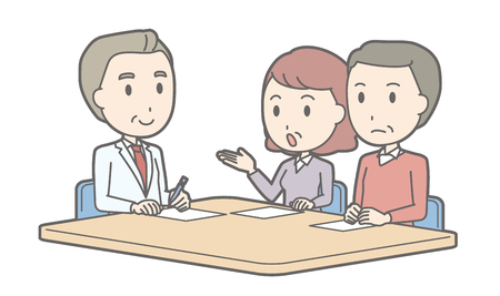 middle aged couple: Illustration that middle-aged couple receiving counseling by a male doctor