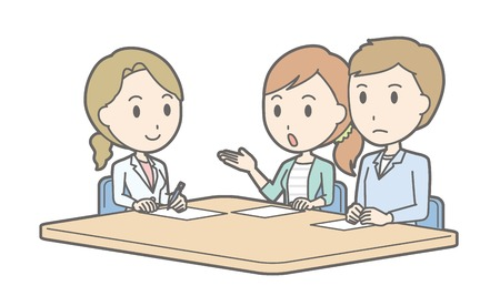 Illustration that a young couple receiving counseling by a female doctor Stock Illustratie
