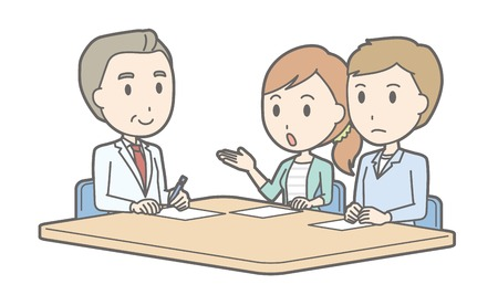 Illustration that a young couple receiving counseling by a male doctor Illustration