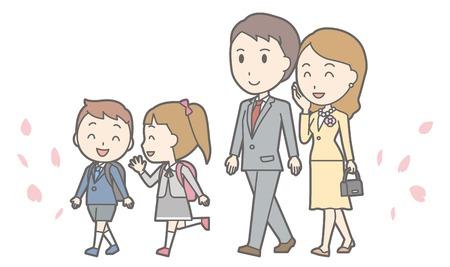Illustration of entrance ceremony at elementary school vol.08