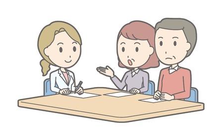Illustration, dass mittleren Alters Paar Beratung durch eine Ärztin Vektorgrafik