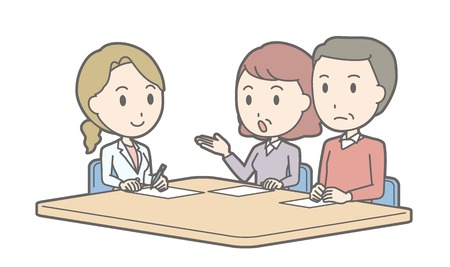 Illustration that middle-aged couple receiving counseling by a female doctor Illustration