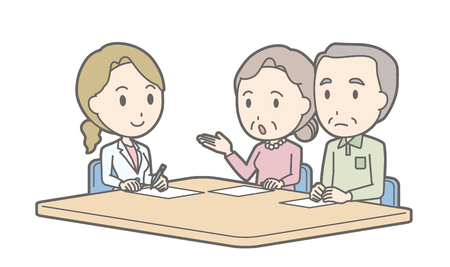 Illustration that an elderly couple receiving counseling by a female doctor