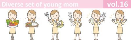 Diverse set of young mom, vol.16 Vetores