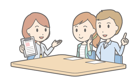 financial adviser: Illustration that a couple talking with a businesswoman vol.01 Illustration