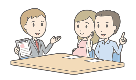 Illustration that a couple talking with a consultant vol.05  イラスト・ベクター素材