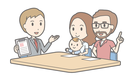 Illustration that a couple talking with a consultant vol.04