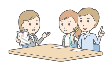 financial adviser: Illustration that a couple talking with a female consultant vol.01 Illustration
