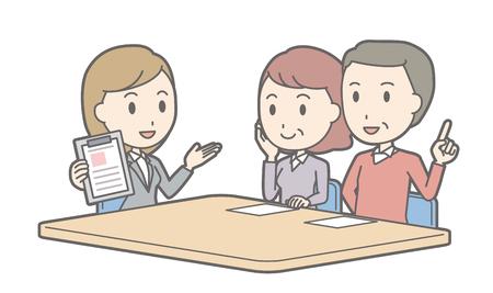 여성 컨설턴트 vol.02와 이야기하는 커플의 일러스트레이션