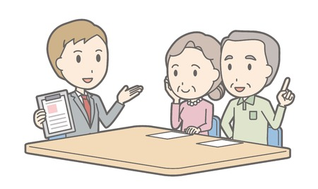 financial adviser: Illustration that a couple talking with a consultant vol.03 Illustration