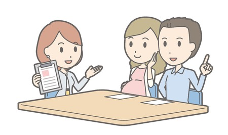 Illustration that a couple talking with a businesswoman vol.05