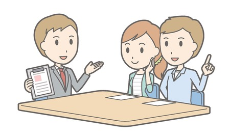 financial adviser: Illustration that a couple talking with a consultant vol.01 Illustration