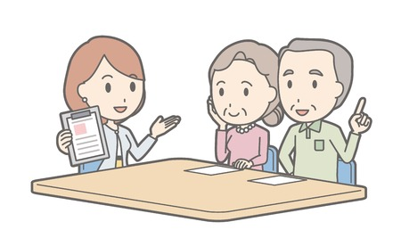 Illustration that a couple talking with a businesswoman vol.03