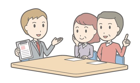 Illustration that a couple talking with a consultant vol.02