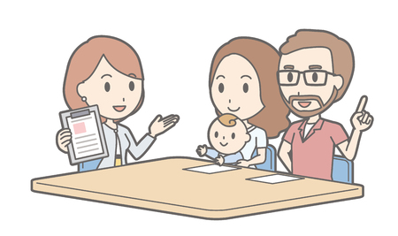 Illustration that a couple talking with a businesswoman vol.04